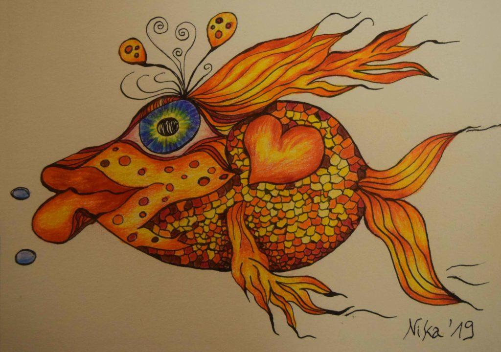 Zeichnung, Fisch