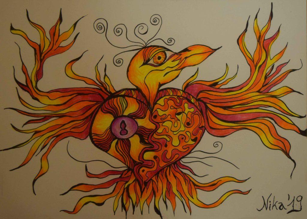 Kunst mit Buntstift und Tinte